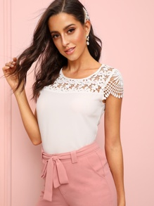 Lace Crochet Panel Blouse