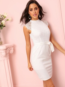 Contrast Lace Zip Back Belted Dress