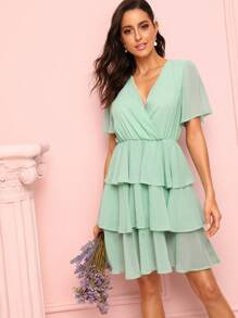 V-neck Tiered Layer Dress