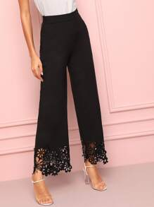 Laser Cut Panel Wide Leg Pants