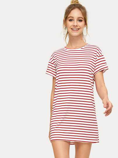 573fed7d21e379 Striped Print T-shirt Dress