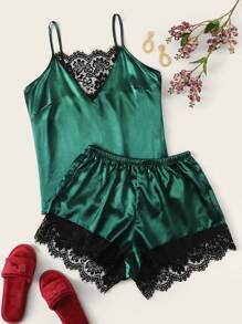 Plus Contrast Lace Satin Cami Top With Shorts