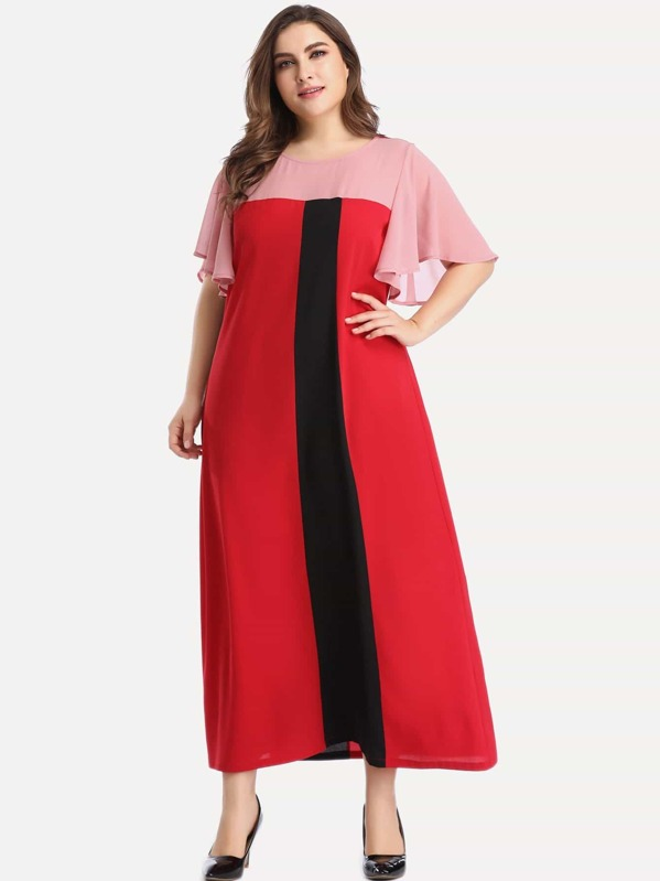 Plus Cut And Sew Panel Maxi Dress | SHEIN