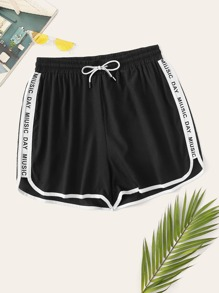 Plus Contrast Trim Drawstring Letter Taped Shorts