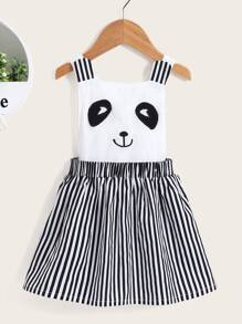 Toddler Girls Embroidery Striped Pinafore Dress