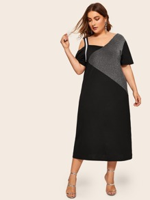 Plus Asymmetric Neck Contrast Panel Dress