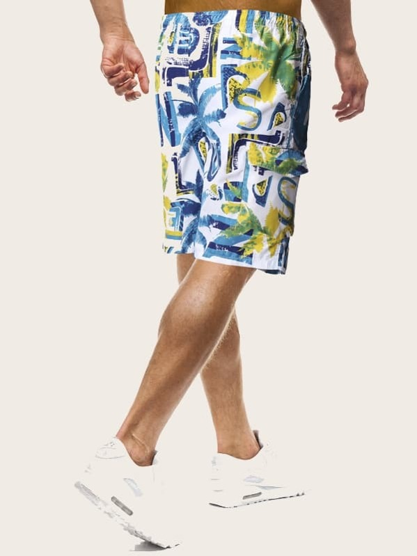 bf14fd8d5c2ed9 Männer Bermuda Shorts mit Pflanzen Muster und Kordelzug
