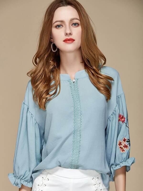 36caa0418694ec Embroidery Drop Shoulder Blouse | SHEIN