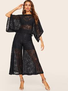 Sheer Lace Top Without Bra & Wide Leg Lined Pants