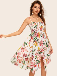 Floral Print Shirred Cami Dress