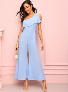 One Shoulder Ruffle Trim Wide Leg Jumpsuit