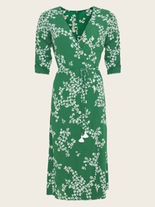 Floral Print Ruched Sleeve Wrap Dress