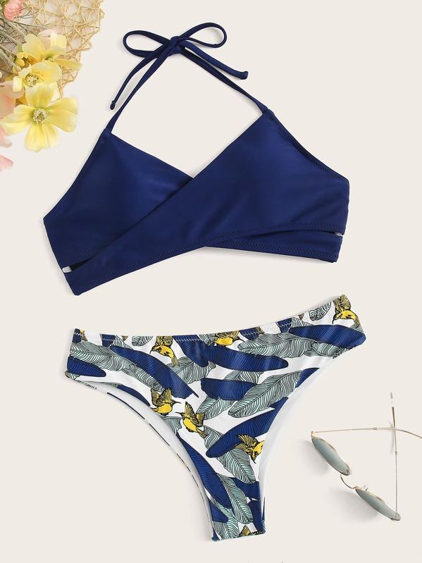 c488bd564ff47 Wrap Halter Top With Random Palm Print Bikini Set | SHEIN