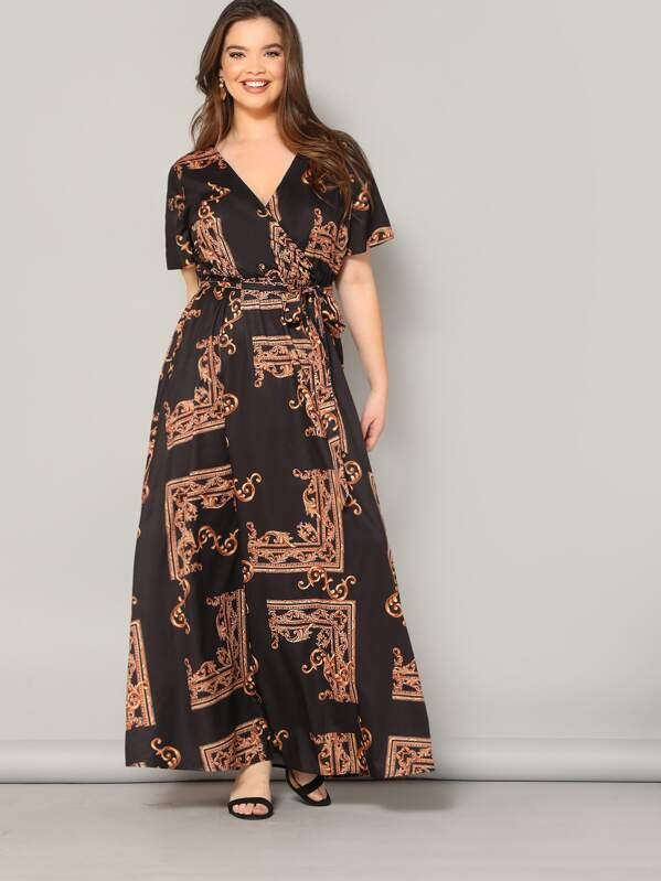 b02407be48 Plus Scarf Print Wrap Belted Maxi Dress | SHEIN