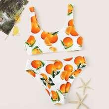 Image of Random Orange Print Tank Top With Panty Bikini Set