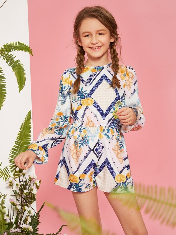 8e682ad2c9 Girls Scarf Print Flounce Sleeve Romper Jumpsuit