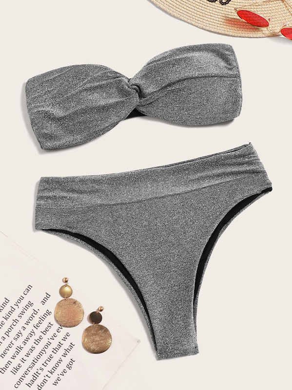Twist Bandeau With High Waist Bikini Set by Sheinside