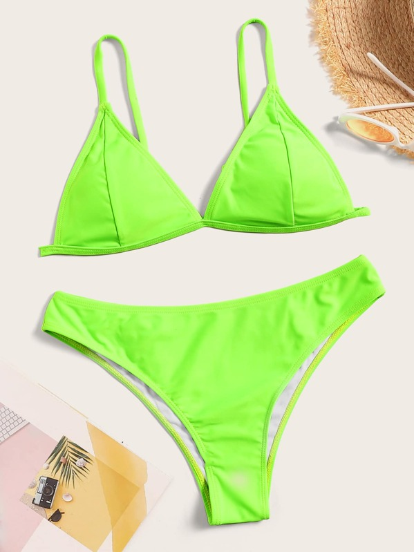 8ea08fa0f6e Neon Lime Triangle Top With Panty Bikini Set | SHEIN