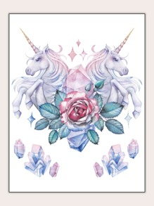 Flower & Unicorn Shaped Tattoo Sticker 1sheet