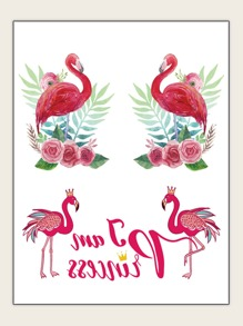 Flower & Flamingo Shaped Tattoo Sticker 1sheet