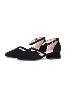 Ankle Strap Square Toe Suede Flats