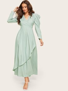 Surplice Neck Gathered Sleeve Asymmetrical Hijab Dress