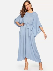 Exaggerate Batwing Sleeve Self Belted Dress