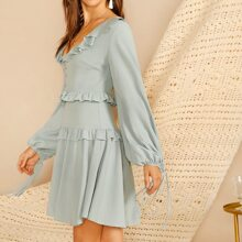 Ruffle Detail Button Front Knotted Lantern Sleeve Dress