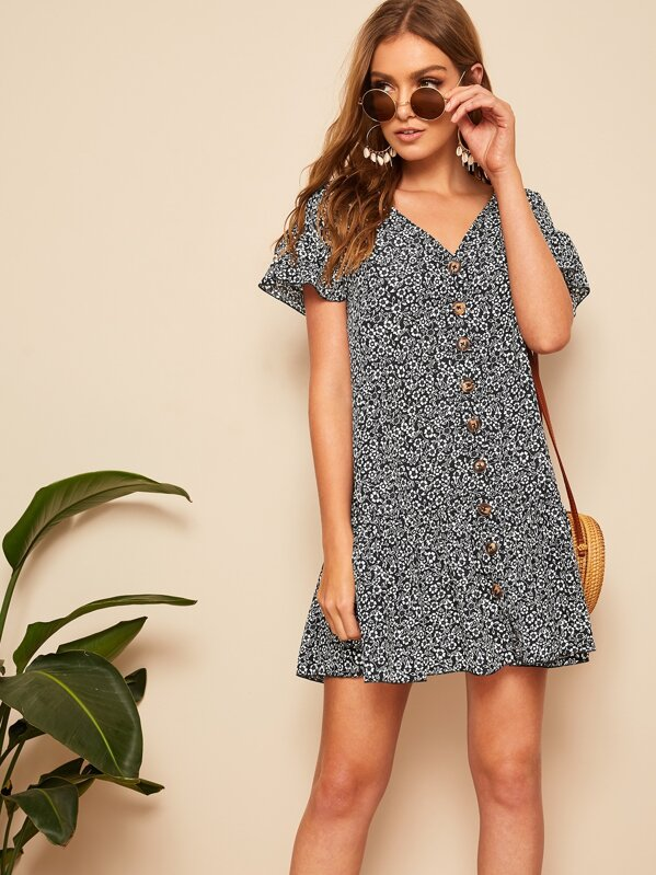 Ruffle Hem Button Up Floral Dress by Shein