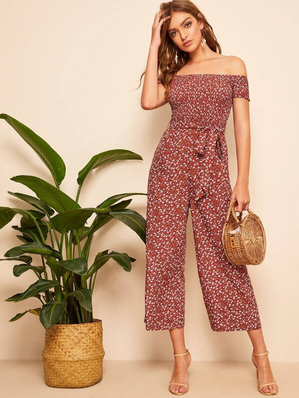 b510a5b35c Shirred Bodice Belted Floral Bardot Jumpsuit | SHEIN UK