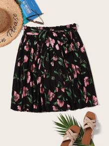 Plus Paperbag Waist Floral Print Belted Skirt