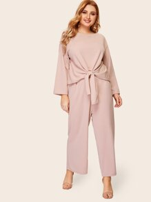 Plus Solid Knot Front Tee & Wide Leg Pants Set