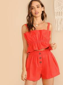 Neon Orange Elasticized Ruffle Top & Button Fly Shorts Set