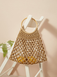 Cut-out Tote Bag With Ring Handle