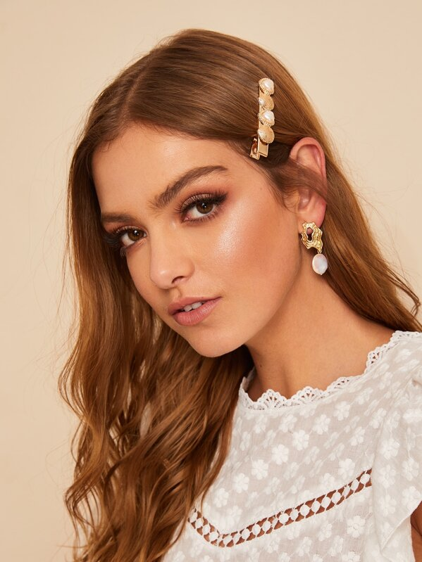 1d16998f75 Faux Pearl & Shell Decorated Hairpin | SHEIN