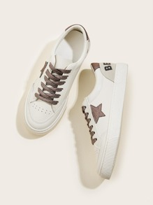 Lace-up Front Glitter Detail Sneakers