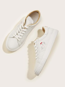 Embroidered Detail Lace-up Front Sneakers
