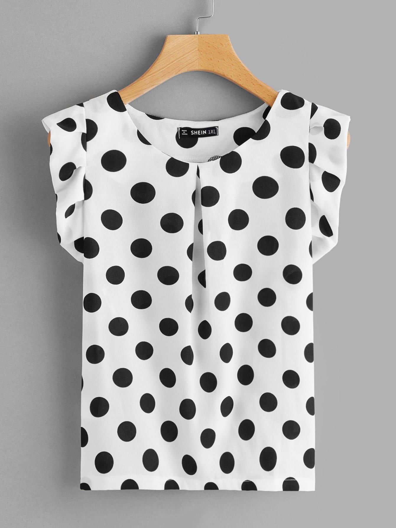 91ab5e795738bc Plus Fold Pleat Neck Ruffle Trim Polka Dot Top | SHEIN