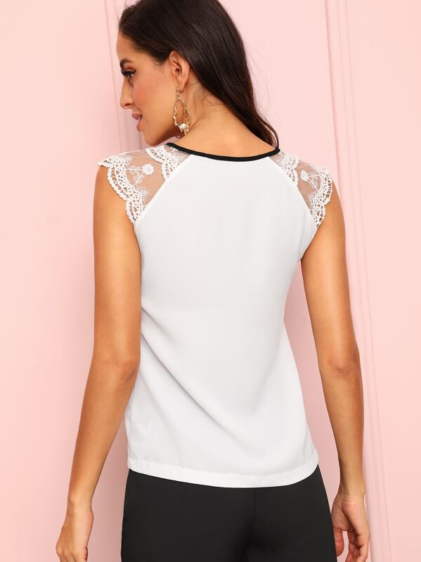 5b1010699e5ce Guipure Lace Shoulder Contrast Bow Top
