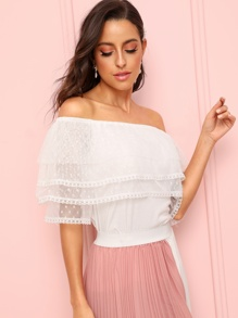 Off Shoulder Mesh Trim Tee