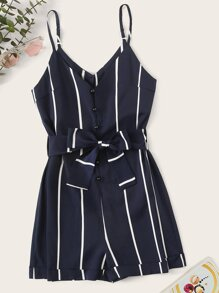 Striped Belted Playsuit
