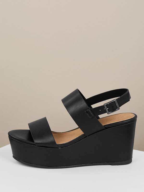 7cf1ae8a27e Double Band Slingback Platform Wedges