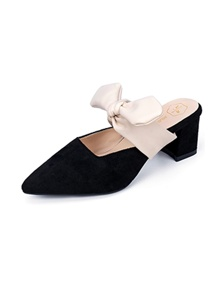 Pointed Toe Bow Decor Chunky Mules