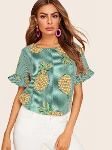 Striped Pineapple Print Flounce Sleeve Blouse