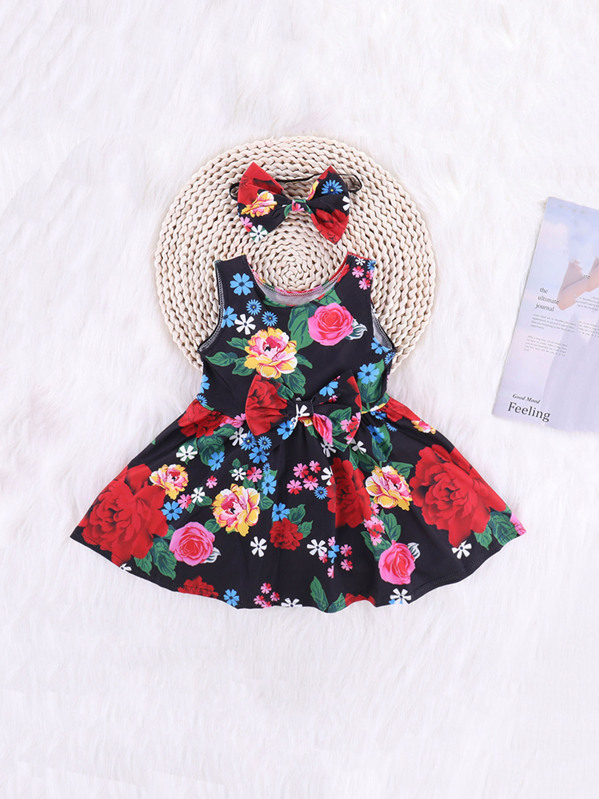 34abb0aa2d Cheap Toddler Girls Floral Print Bow Front A-line Dress With Headband for sale  Australia | SHEIN