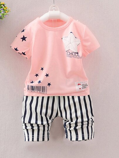 Toddler Boys Star Print Tee With Striped Shorts