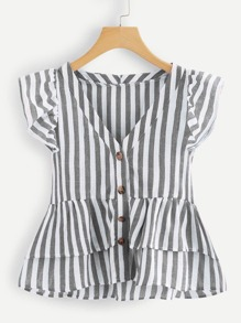 Plus Tiered Layer Hem Striped Blouse