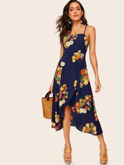 cb5f7f2bb Vestido de tirante de espalda abierta bajo tulipán con estampado floral