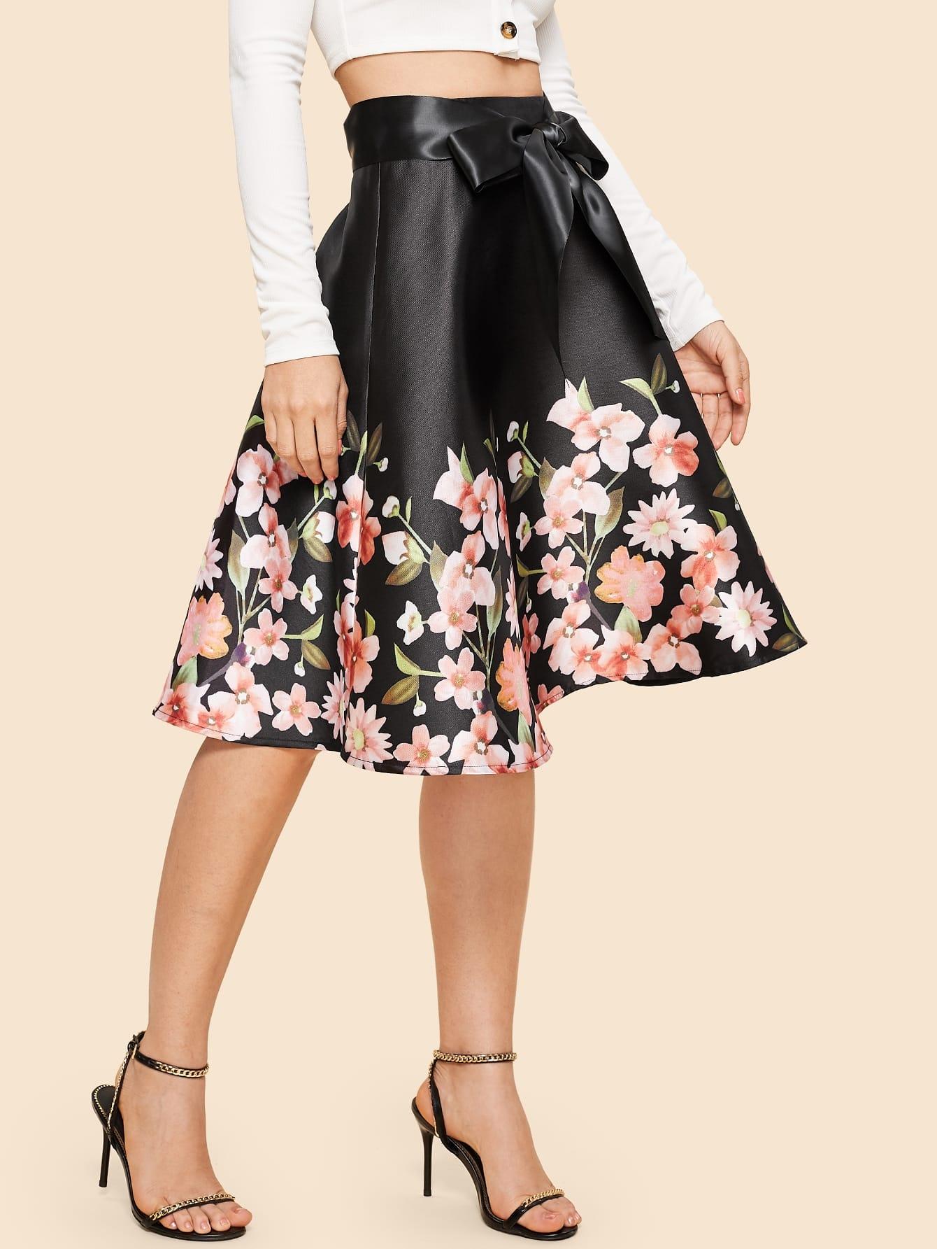 70s цветочная юбка с поясом thumbnail