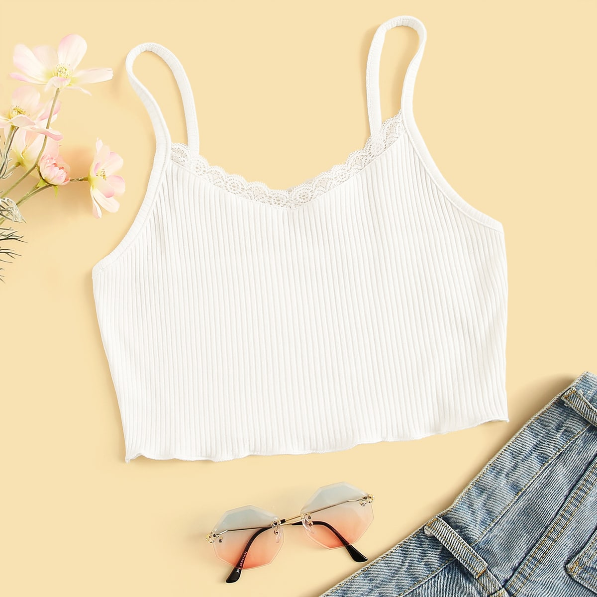 SHEIN coupon: Scalloped Lace Ribbed Cropped Cami Top
